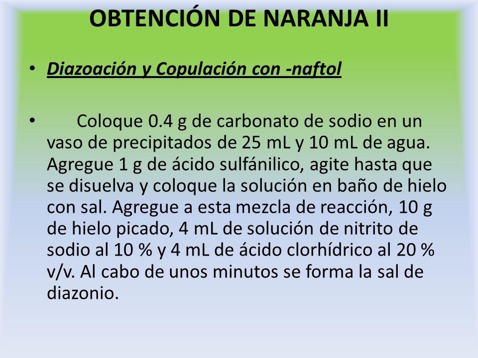 OBTENCIÓN DE NARANJA II