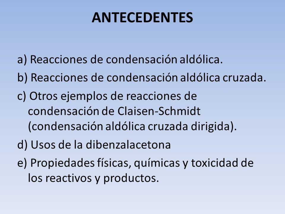 ANTECEDENTES a) Reacciones de condensación aldólica.