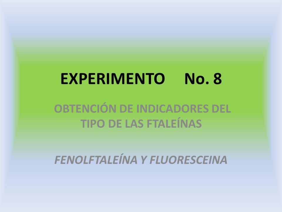 EXPERIMENTO No. 8 OBTENCIÓN DE INDICADORES DEL TIPO DE LAS FTALEÍNAS