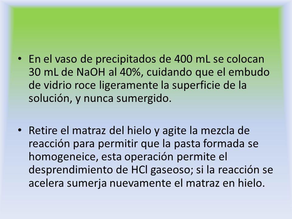 En el vaso de precipitados de 400 mL se colocan 30 mL de NaOH al 40%, cuidando que el embudo de vidrio roce ligeramente la superficie de la solución, y nunca sumergido.
