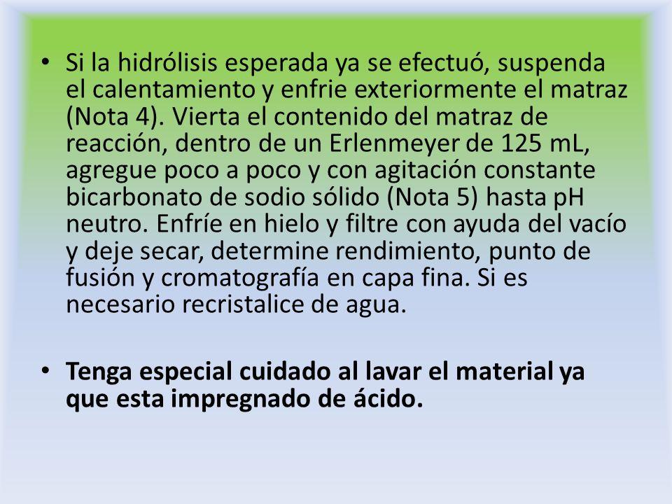 Si la hidrólisis esperada ya se efectuó, suspenda el calentamiento y enfrie exteriormente el matraz (Nota 4). Vierta el contenido del matraz de reacción, dentro de un Erlenmeyer de 125 mL, agregue poco a poco y con agitación constante bicarbonato de sodio sólido (Nota 5) hasta pH neutro. Enfríe en hielo y filtre con ayuda del vacío y deje secar, determine rendimiento, punto de fusión y cromatografía en capa fina. Si es necesario recristalice de agua.