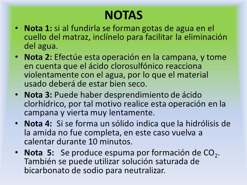 NOTAS Nota 1: si al fundirla se forman gotas de agua en el cuello del matraz, inclínelo para facilitar la eliminación del agua.