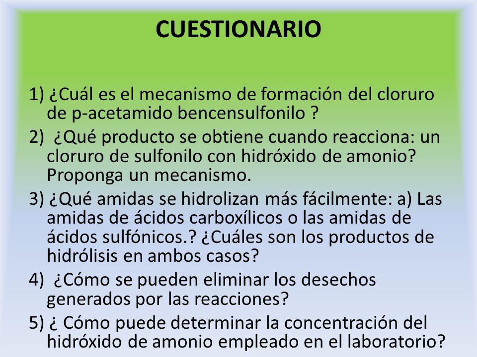 CUESTIONARIO 1) ¿Cuál es el mecanismo de formación del cloruro de p-acetamido bencensulfonilo