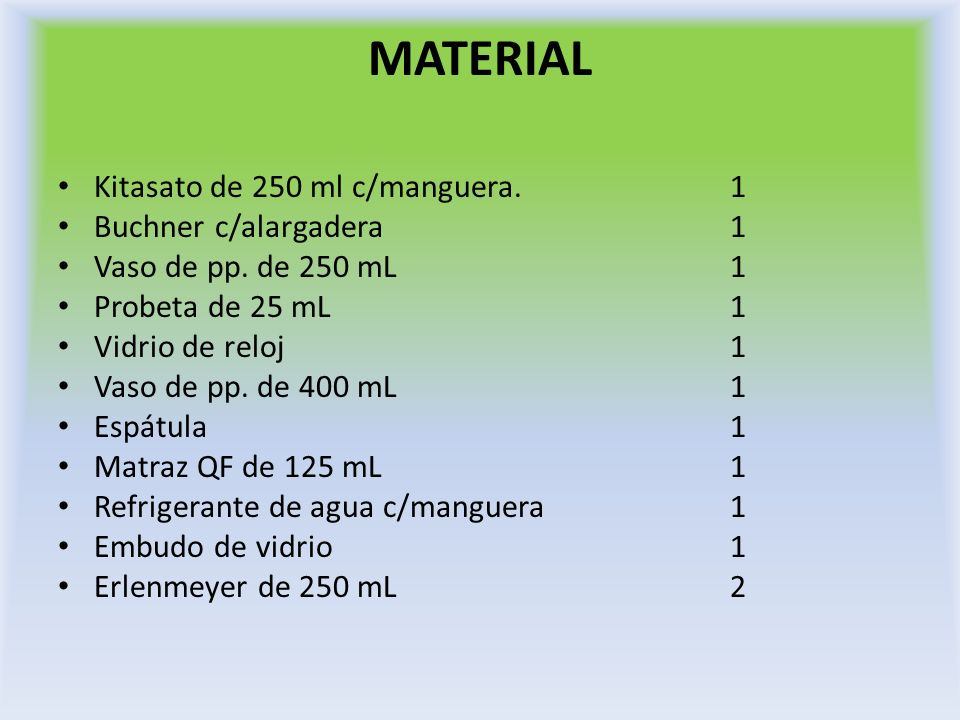 MATERIAL Kitasato de 250 ml c/manguera. 1 Buchner c/alargadera 1