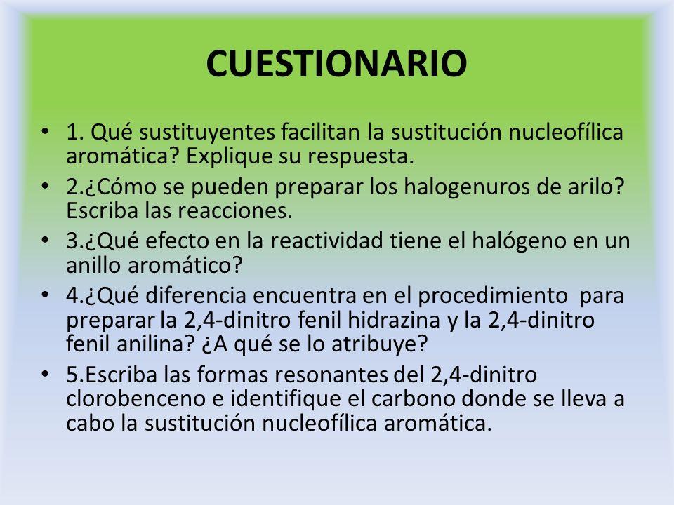 CUESTIONARIO 1. Qué sustituyentes facilitan la sustitución nucleofílica aromática Explique su respuesta.