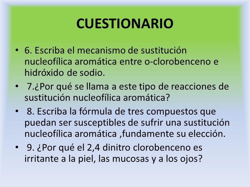 CUESTIONARIO 6. Escriba el mecanismo de sustitución nucleofílica aromática entre o-clorobenceno e hidróxido de sodio.
