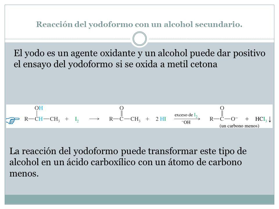 Reacción del yodoformo con un alcohol secundario.