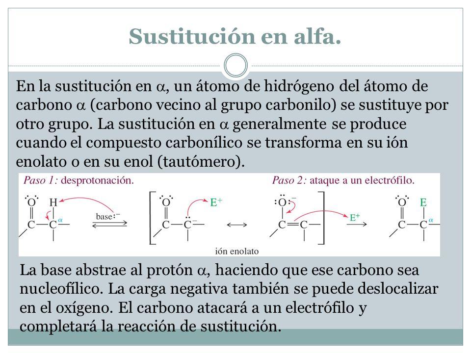 Sustitución en alfa.