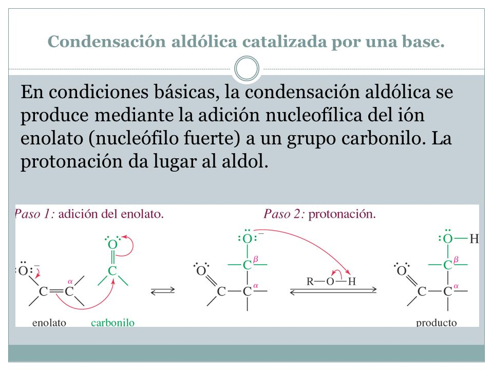 Condensación aldólica catalizada por una base.