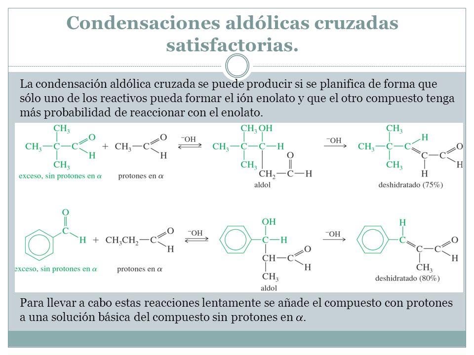 Condensaciones aldólicas cruzadas satisfactorias.