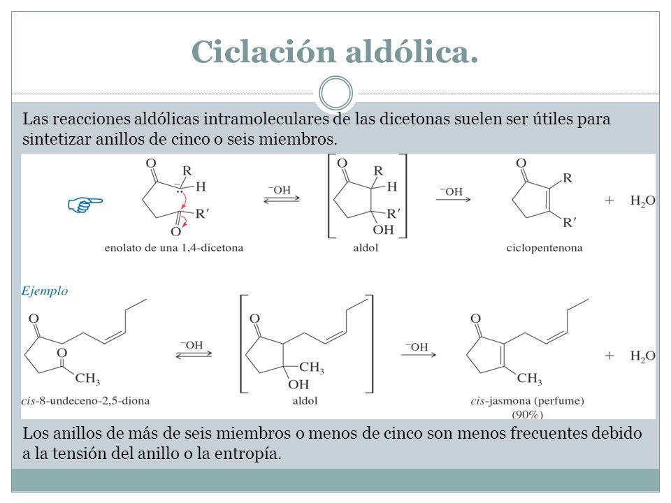Ciclación aldólica.Las reacciones aldólicas intramoleculares de las dicetonas suelen ser útiles para sintetizar anillos de cinco o seis miembros.