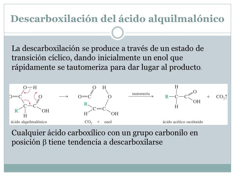 Descarboxilación del ácido alquilmalónico