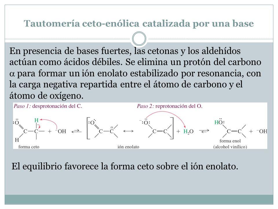 Tautomería ceto-enólica catalizada por una base