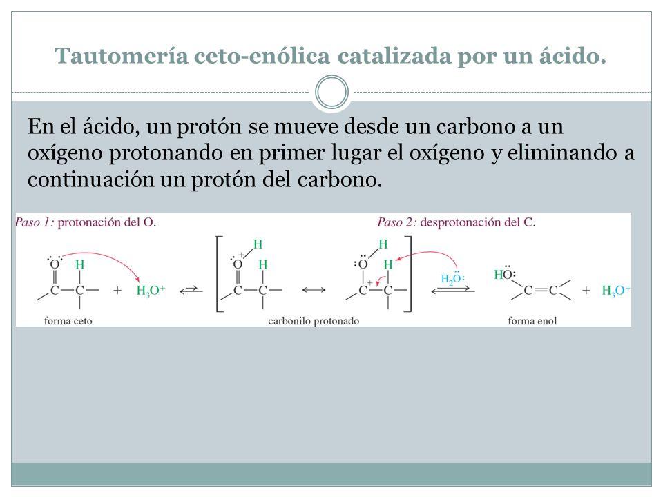 Tautomería ceto-enólica catalizada por un ácido.