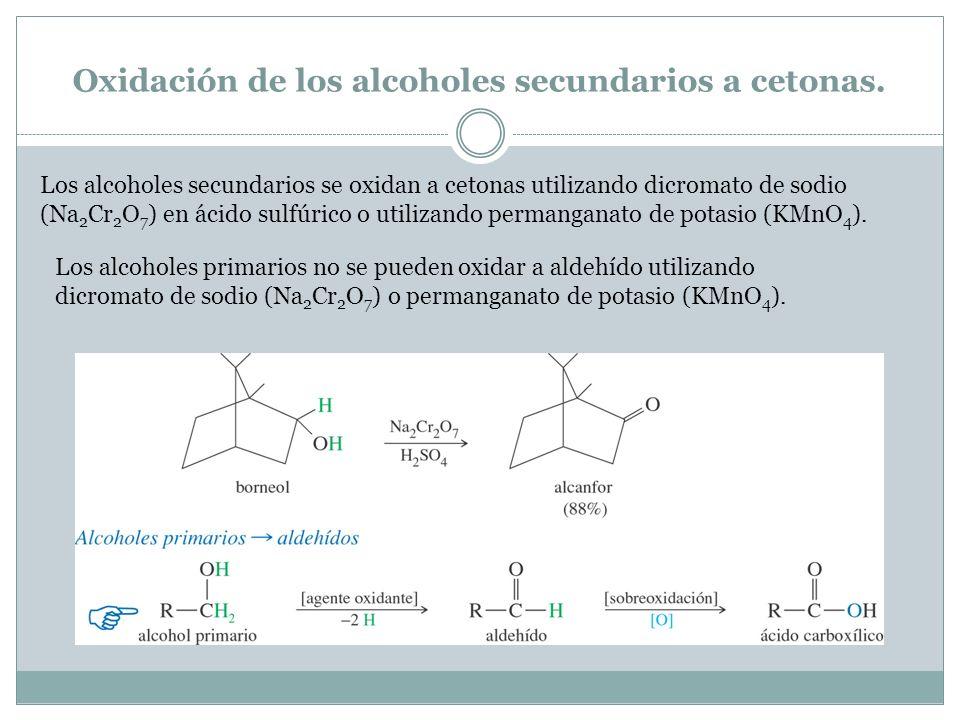 Oxidación de los alcoholes secundarios a cetonas.