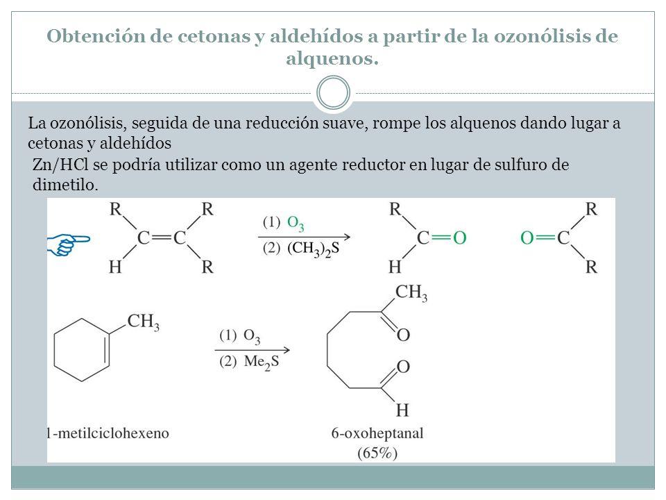Obtención de cetonas y aldehídos a partir de la ozonólisis de alquenos.
