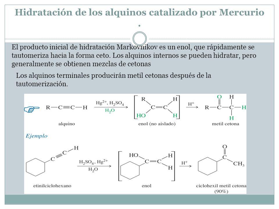 Hidratación de los alquinos catalizado por Mercurio .