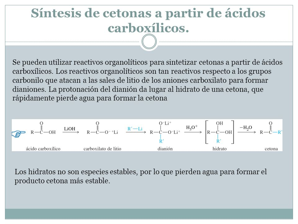 Síntesis de cetonas a partir de ácidos carboxílicos.