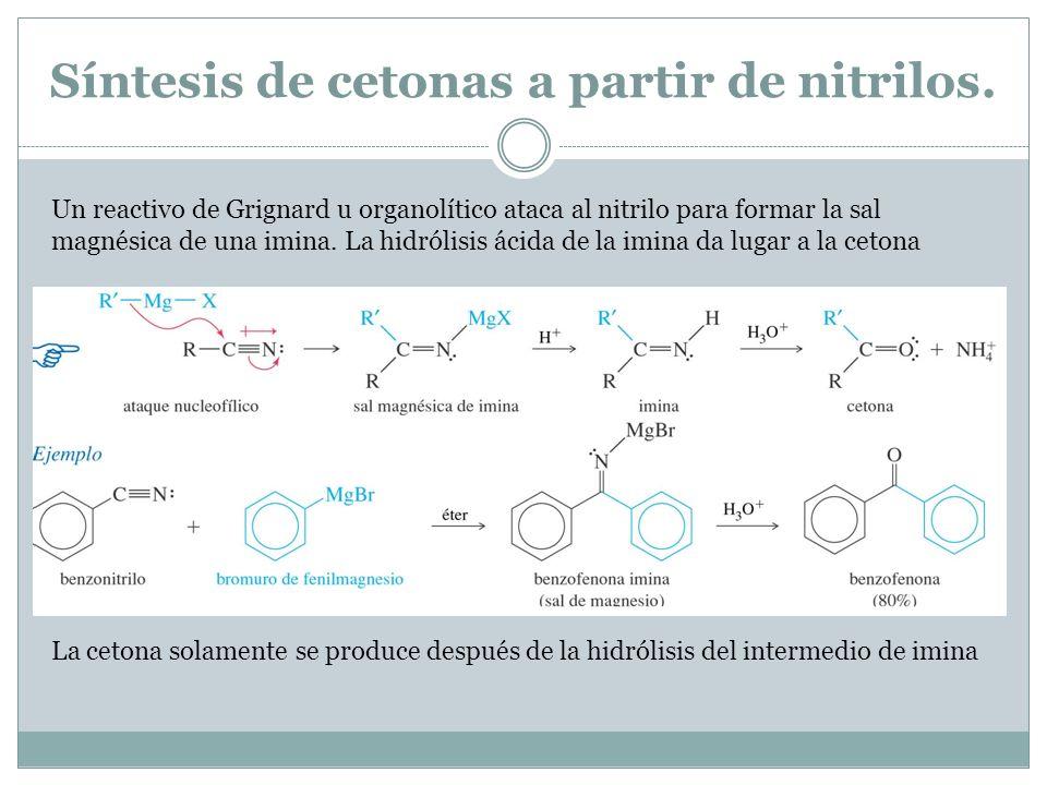Síntesis de cetonas a partir de nitrilos.