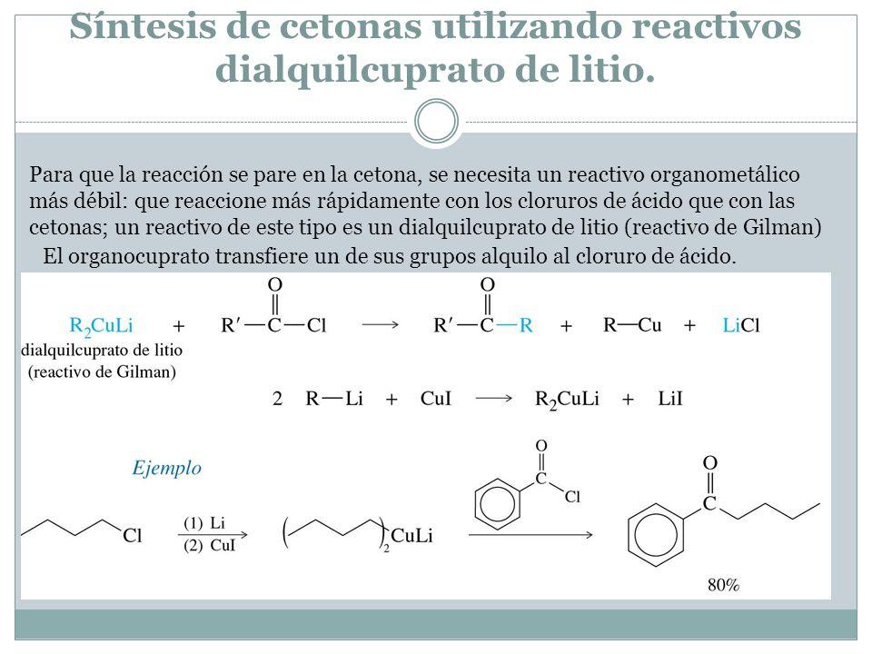 Síntesis de cetonas utilizando reactivos dialquilcuprato de litio.