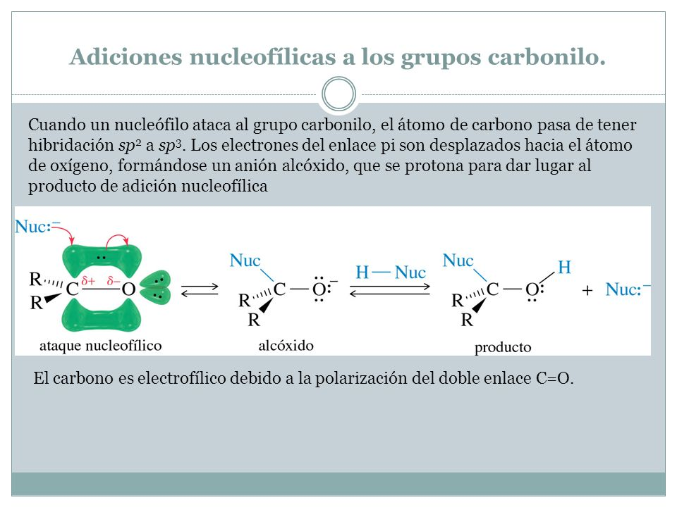 Adiciones nucleofílicas a los grupos carbonilo.