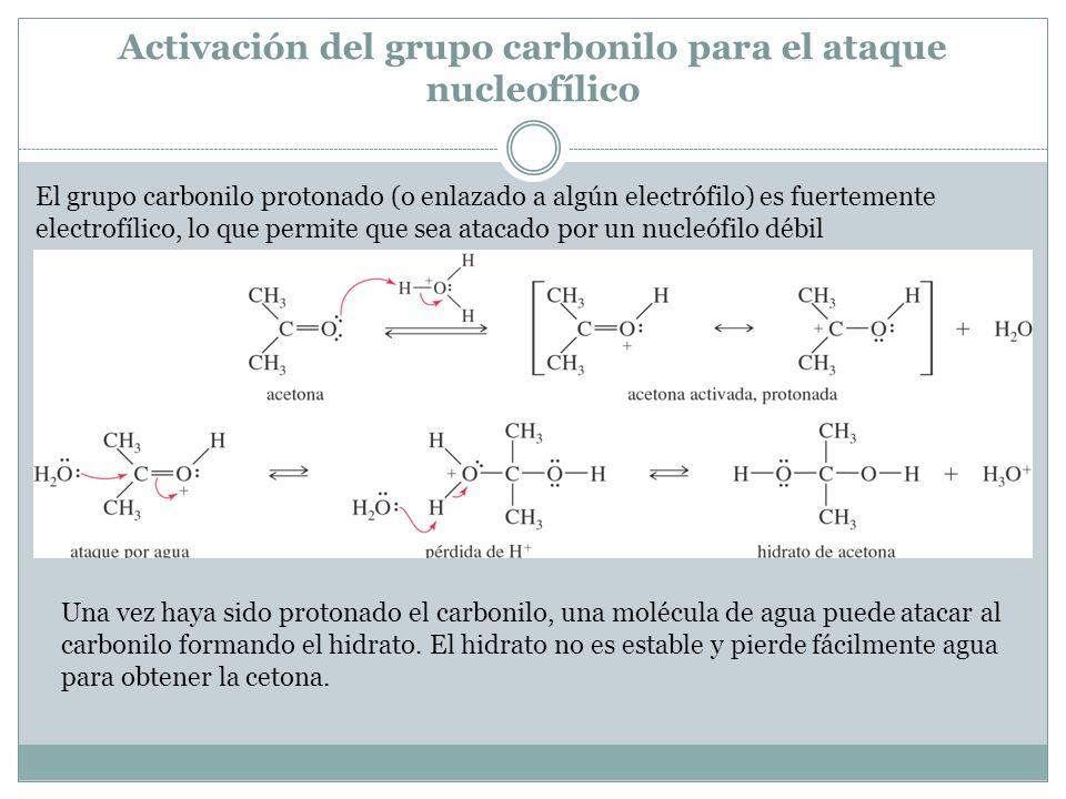 Activación del grupo carbonilo para el ataque nucleofílico