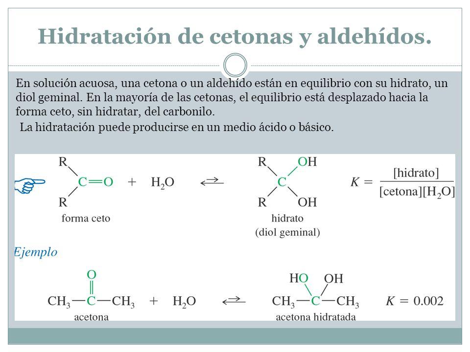 Hidratación de cetonas y aldehídos.