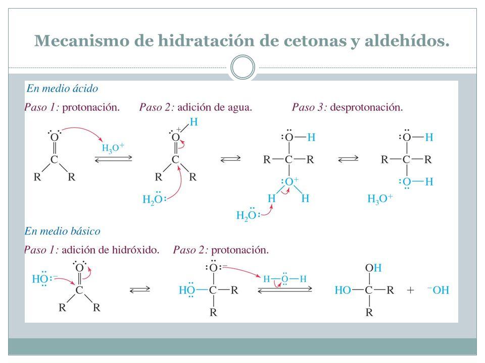 Mecanismo de hidratación de cetonas y aldehídos.