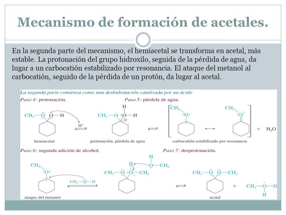 Mecanismo de formación de acetales.