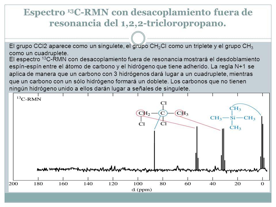 Espectro 13C-RMN con desacoplamiento fuera de resonancia del 1,2,2-tricloropropano.