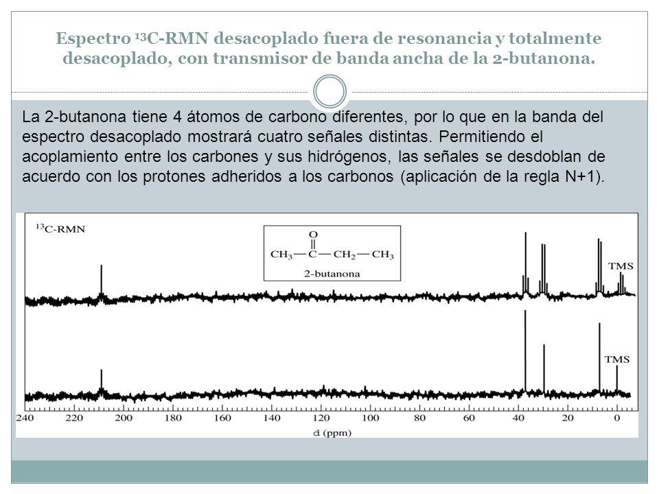 Espectro 13C-RMN desacoplado fuera de resonancia y totalmente desacoplado, con transmisor de banda ancha de la 2-butanona.