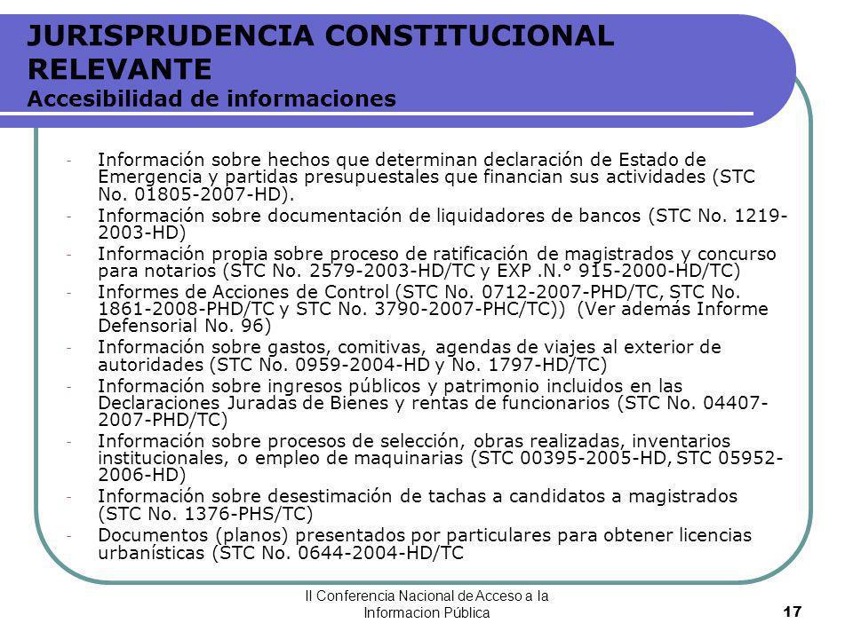 JURISPRUDENCIA CONSTITUCIONAL RELEVANTE Accesibilidad de informaciones