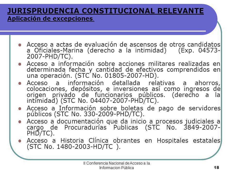 JURISPRUDENCIA CONSTITUCIONAL RELEVANTE Aplicación de excepciones.