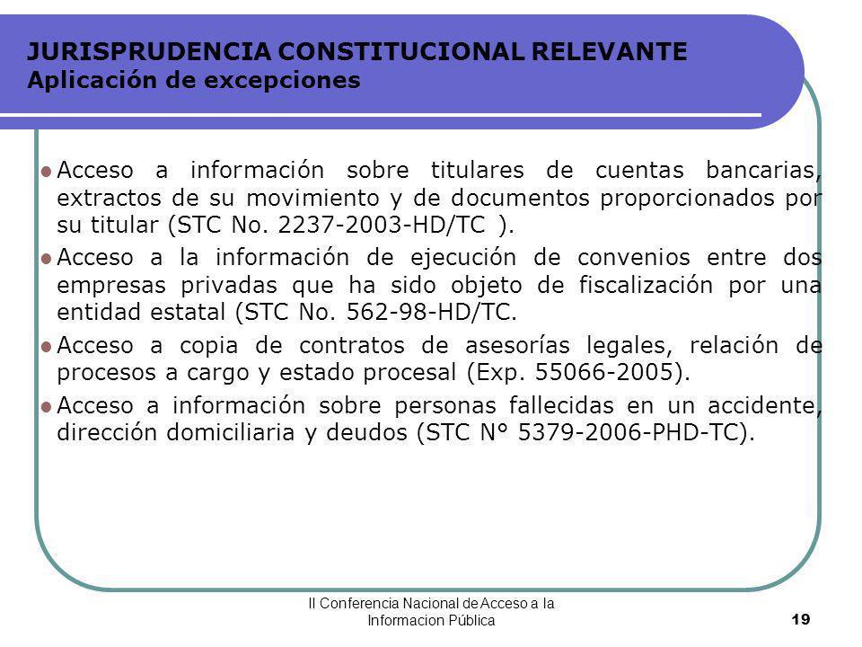 JURISPRUDENCIA CONSTITUCIONAL RELEVANTE Aplicación de excepciones