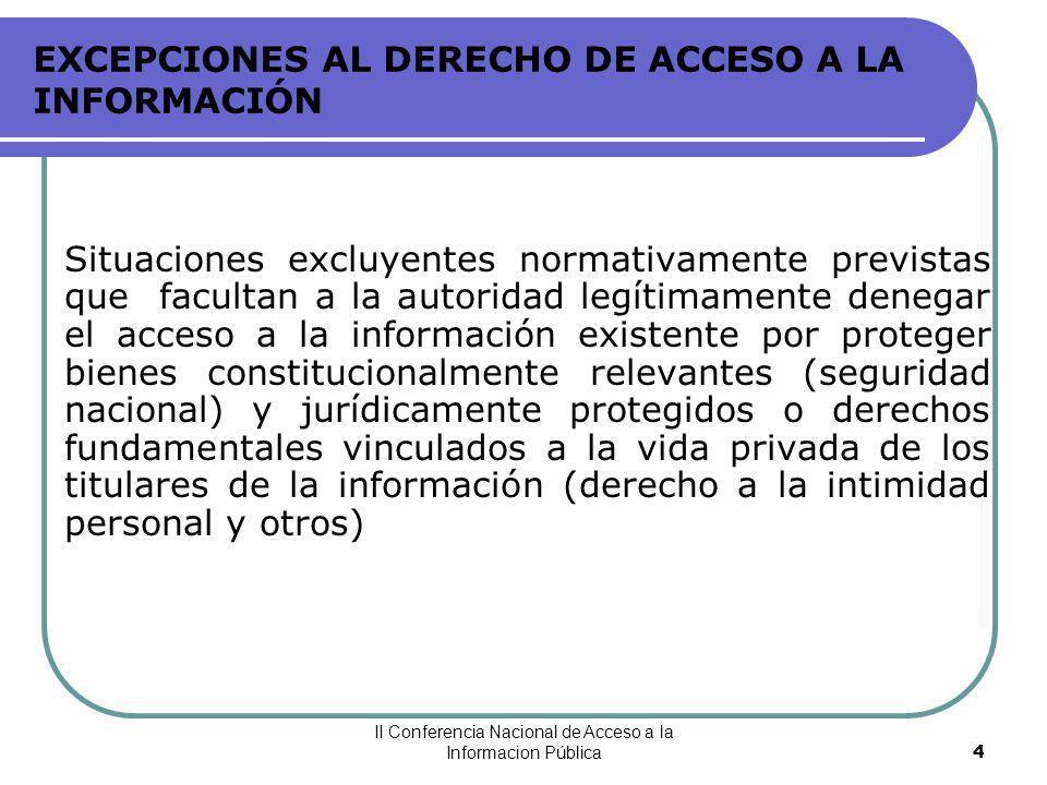 EXCEPCIONES AL DERECHO DE ACCESO A LA INFORMACIÓN
