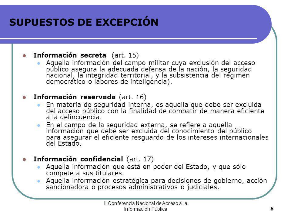 SUPUESTOS DE EXCEPCIÓN