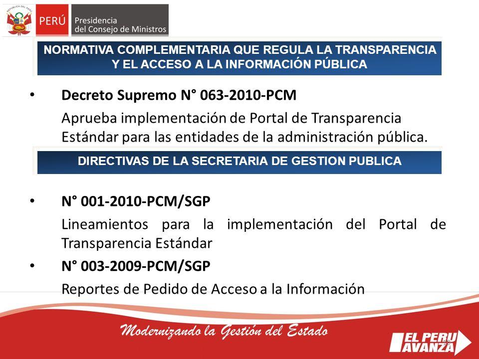 DIRECTIVAS DE LA SECRETARIA DE GESTION PUBLICA