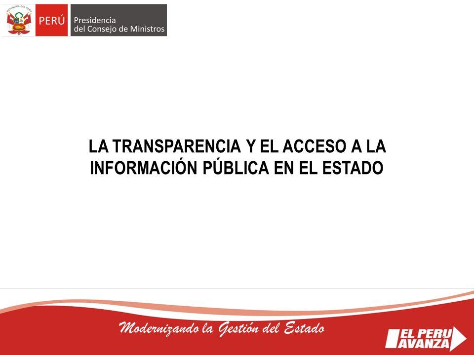 LA TRANSPARENCIA Y EL ACCESO A LA INFORMACIÓN PÚBLICA EN EL ESTADO