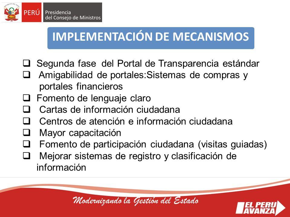 IMPLEMENTACIÓN DE MECANISMOS