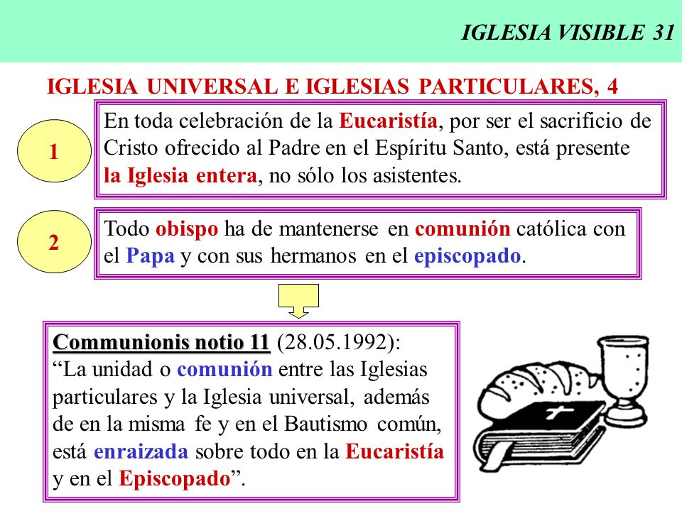 IGLESIA VISIBLE 31IGLESIA UNIVERSAL E IGLESIAS PARTICULARES, 4. En toda celebración de la Eucaristía, por ser el sacrificio de.