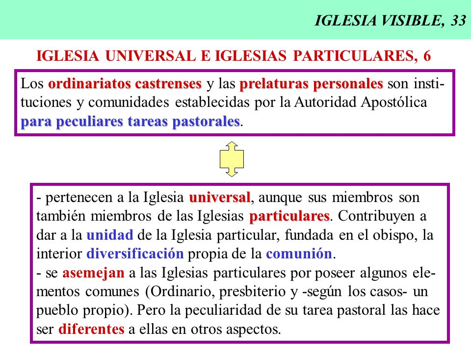IGLESIA VISIBLE, 33 IGLESIA UNIVERSAL E IGLESIAS PARTICULARES, 6. Los ordinariatos castrenses y las prelaturas personales son insti-