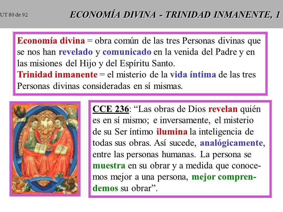 ECONOMÍA DIVINA - TRINIDAD INMANENTE, 1