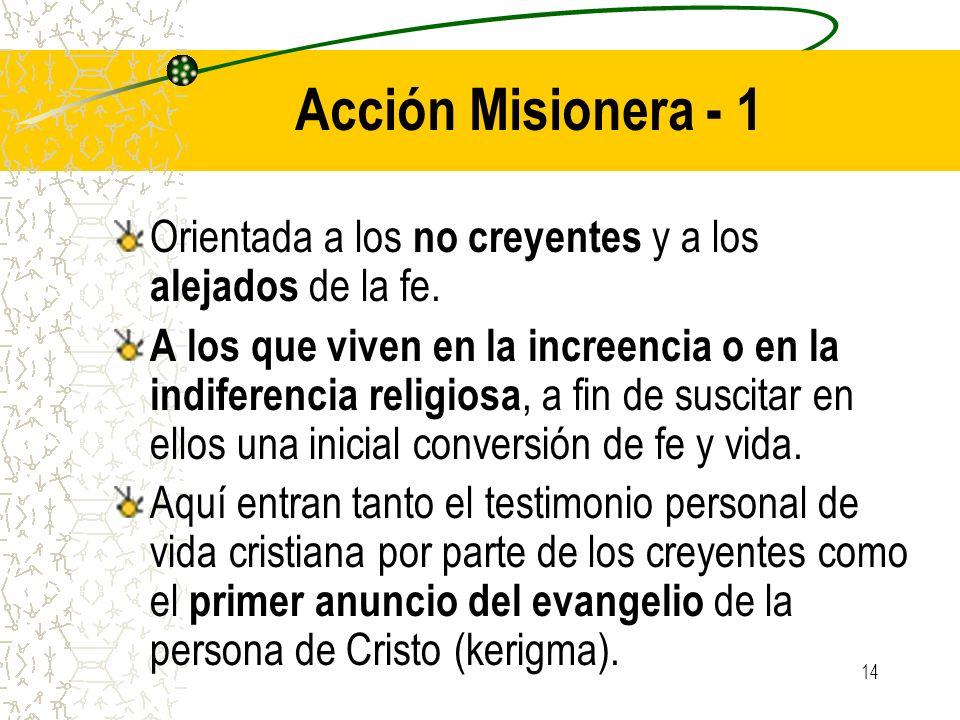 Acción Misionera - 1Orientada a los no creyentes y a los alejados de la fe.