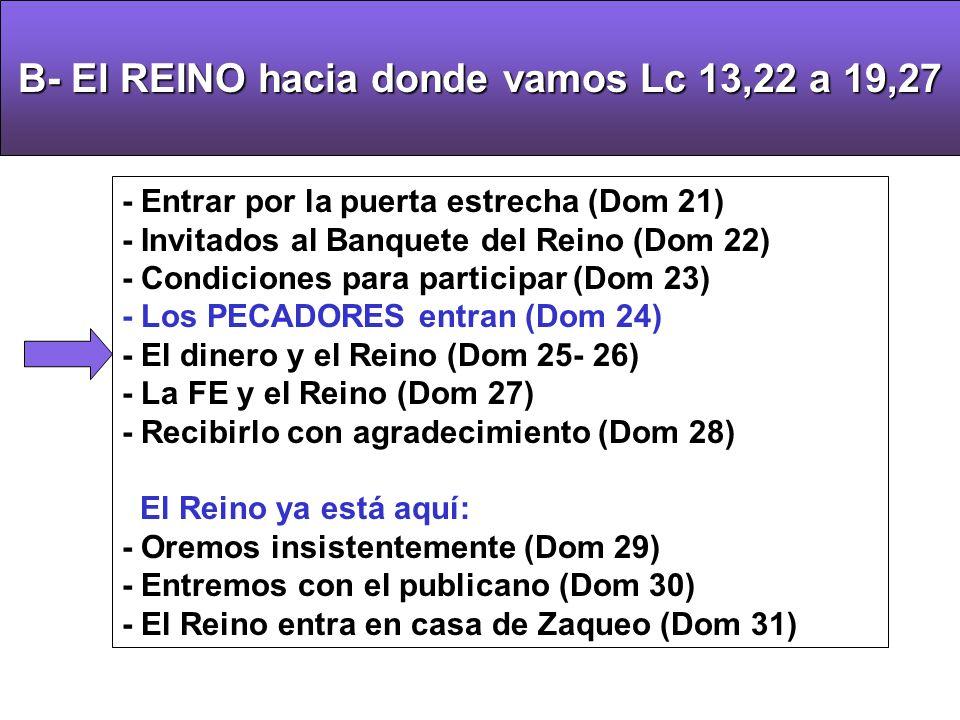 B- El REINO hacia donde vamos Lc 13,22 a 19,27