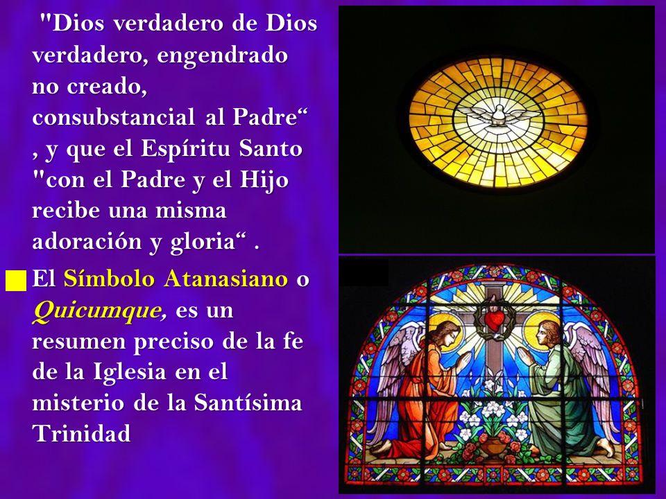Dios verdadero de Dios verdadero, engendrado no creado, consubstancial al Padre , y que el Espíritu Santo con el Padre y el Hijo recibe una misma adoración y gloria .