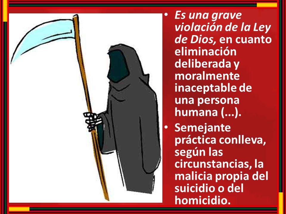 Es una grave violación de la Ley de Dios, en cuanto eliminación deliberada y moralmente inaceptable de una persona humana (...).