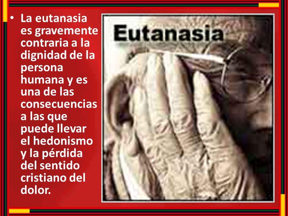 La eutanasia es gravemente contraria a la dignidad de la persona humana y es una de las consecuencias a las que puede llevar el hedonismo y la pérdida del sentido cristiano del dolor.