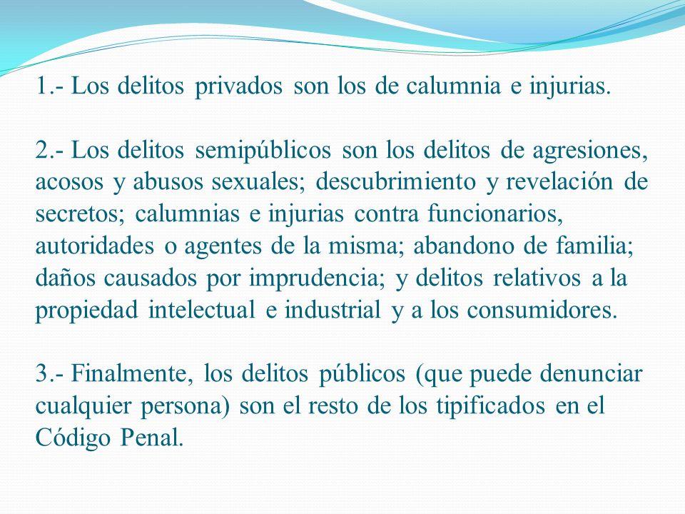 1. - Los delitos privados son los de calumnia e injurias. 2