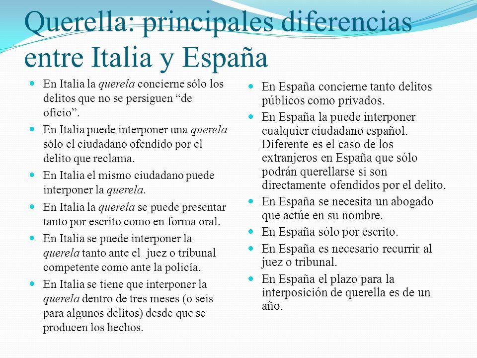 Querella: principales diferencias entre Italia y España