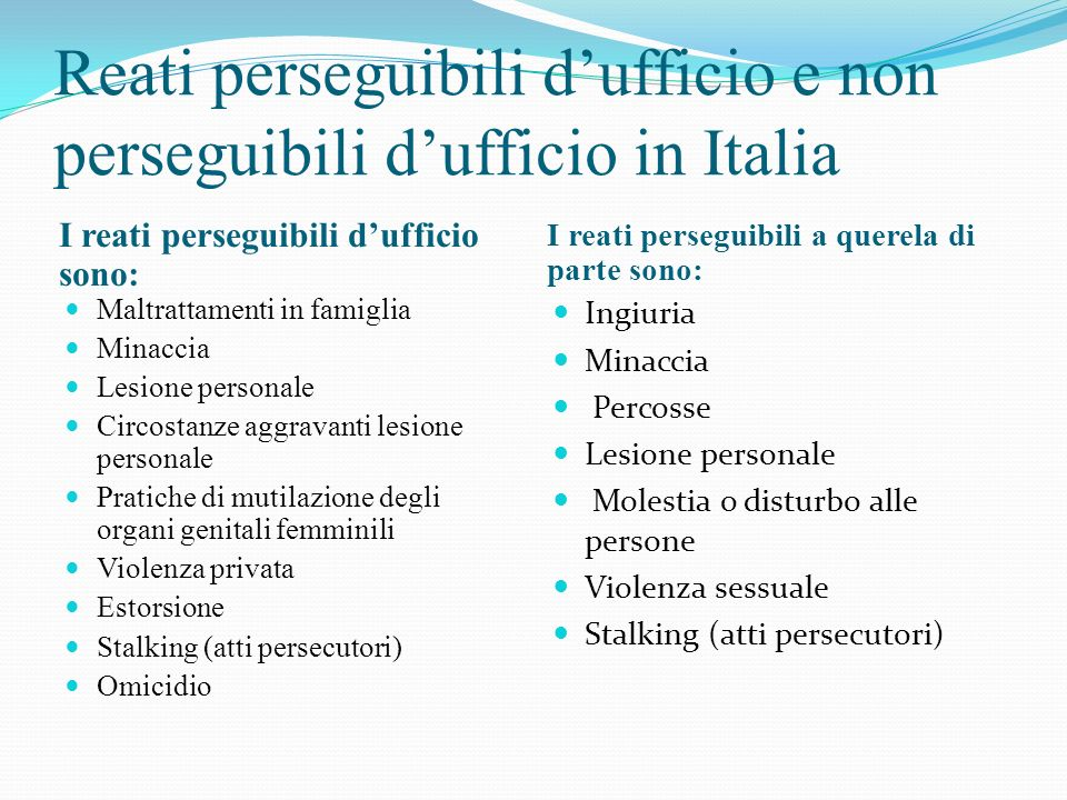 Reati perseguibili d'ufficio e non perseguibili d'ufficio in Italia